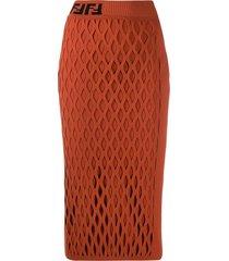fendi ff motif detail pencil skirt - orange