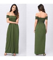 vestido de playa sexy para mujer vestidos largos con hombros descubiertos sin espalda túnica sin tirantes vestido de fiesta vestidos-verde