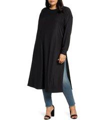 plus size women's coldesina jetset long sleeve tunic, size xl/1x - black