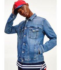 tommy hilfiger men's classic trucker jacket denim blue wash - xxl