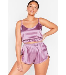 womens sleek it off plus cami and short pajama set - lilac