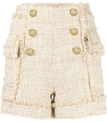 balmain frayed tweed shorts - neutrals