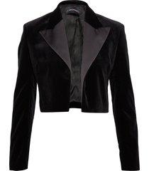 karl x carine velvet jacket blazers bouclé blazers svart karl lagerfeld