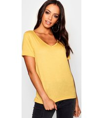 basic super soft v neck t-shirt, mustard