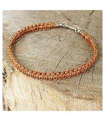 men's leather braided bracelet, 'brown magnificence' (thailand)
