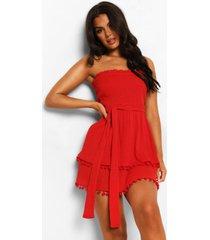 geplooide gekreukelde katoenen strapless strand jurk, red