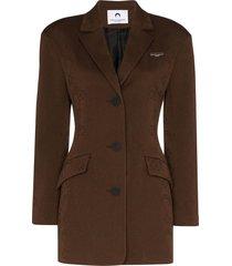marine serre long jacquard blazer - brown