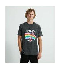 camiseta marmorizada com estampa snoopy | snoopy | cinza | p
