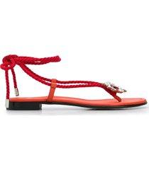 alevì mira braided strap sandals - orange