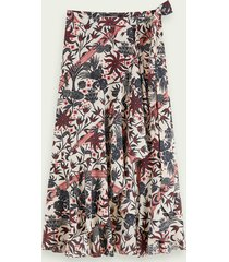 scotch & soda floral print warp around midi skirt