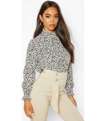 smudge print high neck sheered blouse, cream