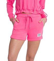 juicy couture women's drawstring shorts - laser pink - size m