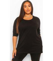 plus basic oversized t-shirt met langere achter zoom en driekwarts mouwen, black