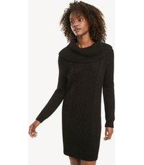 tommy hilfiger women's essential cableknit sweater dress black - xl
