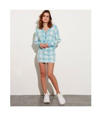 saia curta de tricô estampada xadrez vichy mindset azul claro