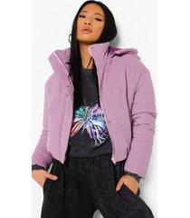 petite gewatteerde corduroy jas met hoge kraag, lilac