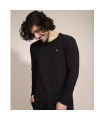 camiseta esportiva ace manga longa gola careca com proteção uv50+ preta