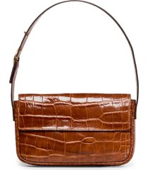 staud tommy croc embossed leather shoulder bag - brown