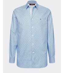 camisa th flex de corte slim azul tommy hilfiger