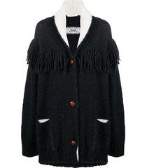 philosophy di lorenzo serafini oversized tassel-trim cardigan - black