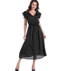 maxi vestido tipo satín negro nicopoly