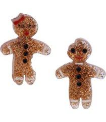 betsey johnson festive gingerbread mismatched stud earrings