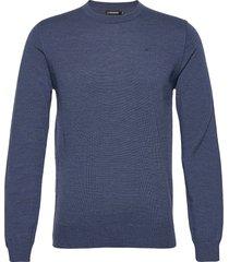 lyle merino crew neck sweater gebreide trui met ronde kraag blauw j. lindeberg
