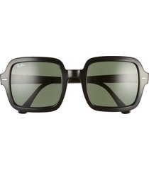 women's ray-ban 53mm square sunglasses - black/ green solid