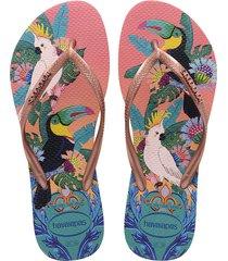 sandalias chanclas havaianas para hombre rosa slim tropical