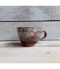filiżanka ręcznie wykonana brązowo-beżowa