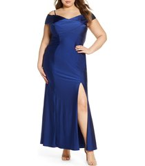 plus size women's morgan & co cold shoulder satin trumpet gown