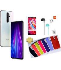 celular xiaomi redmi note 8 pro 128gb 6gb ram blanco + vidrio + audifonos xiaomi + silicone case