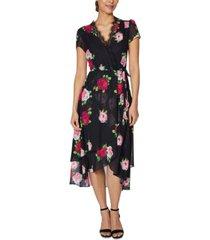 betsey johnson petite floral-print wrap dress