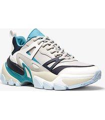 mk sneaker nick in pelle e mesh - alluminio (grigio) - michael kors