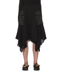 asymmetric drape hem midi cargo skirt