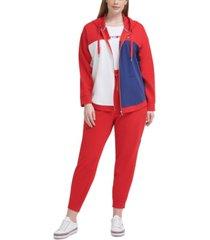 tommy hilfiger sport plus size colorblocked zip-up hoodie