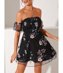 yoins estampado floral de organza bordado fuera del hombro vestido