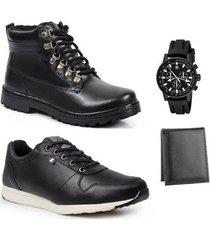 coturno masculino couro + sapatênis + carteira + relógio - masculino