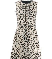 dolce & gabbana animal print flared mini dress - neutrals