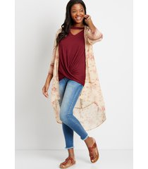 maurices womens light pink floral bell sleeve kimono