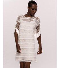 sukienka haftowana z frędzlami