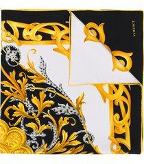 versace acanthus print scarf - black