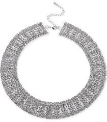 """inc silver-tone crystal multi-row choker necklace, 12-1/2"""" + 3"""" extender, created for macy's"""