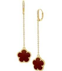 jan-kou women's flower goldplated, coral agate & cubic zirconia drop earrings