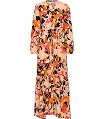 dhparis flower print maxi dress maxi dress galajurk oranje denim hunter