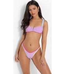 bikini top met contrasterende naden en beugel, lilac