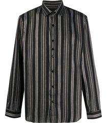 costumein horizontal-stripe long-sleeved shirt - black
