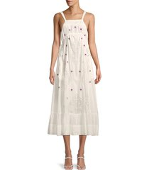 free people women's dewdrop lace a-line midi dress - ivory - size s