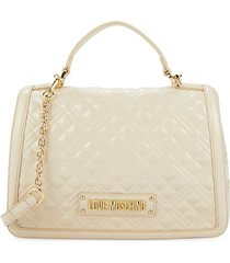 love moschino women's quilted faux leather crossbody bag - avorio