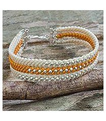 silver beaded wristband bracelet, 'orange and cream' (thailand)